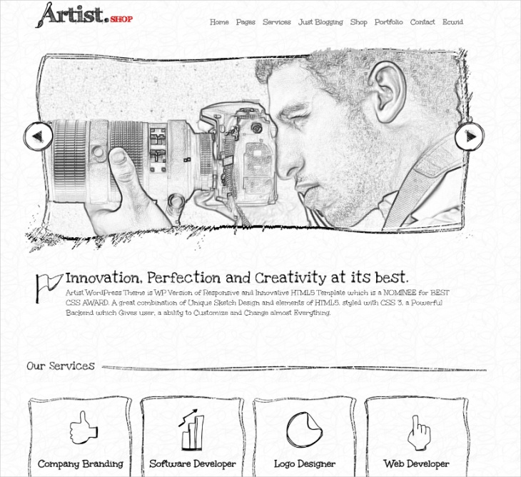 Artist Sketch Layout WordPress Theme