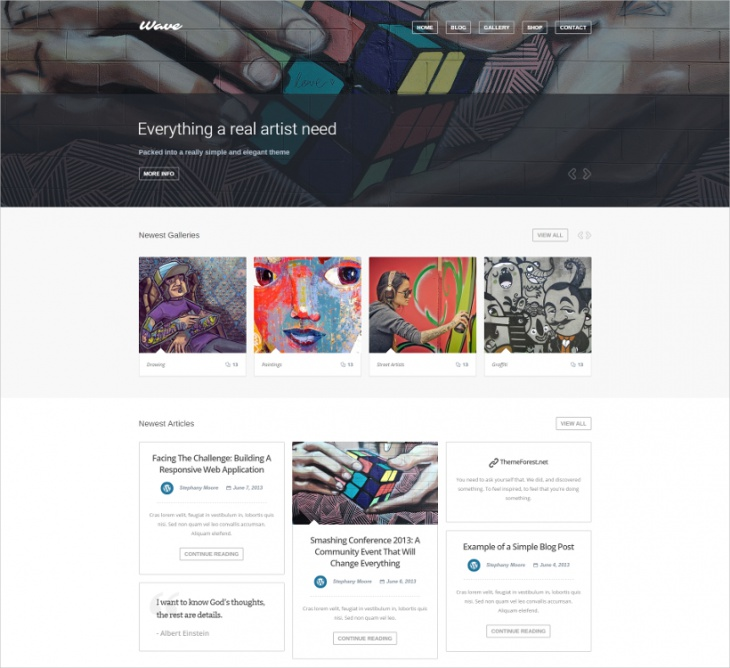 Wave Artist WordPress Theme
