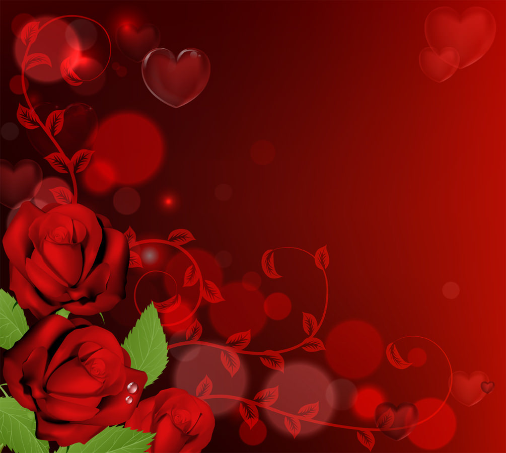 Roses Border Red Background