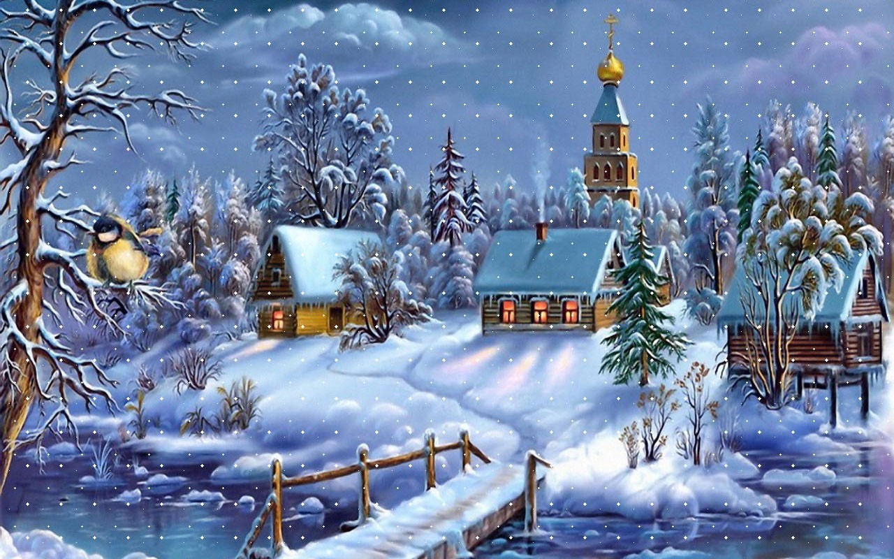 Snow Covered City Background