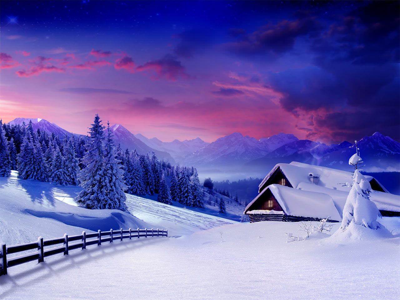 Snow Covered House Wallpaper