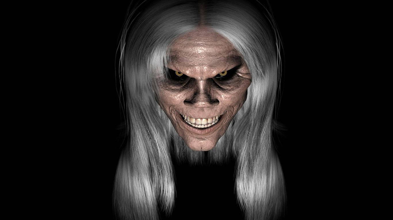 Scary Old Woman Black Background