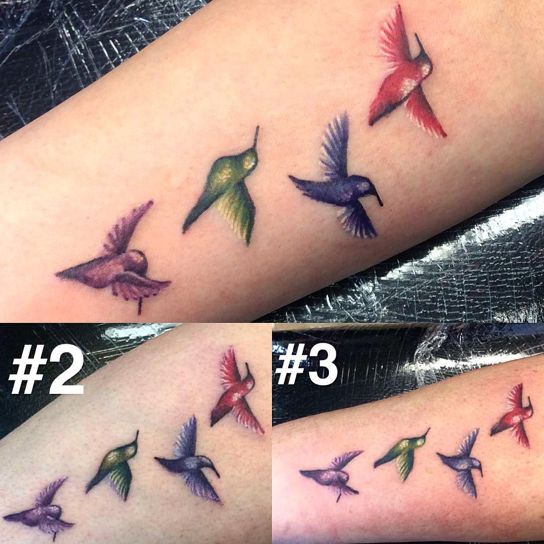 Colorful Birds Tattoo Design