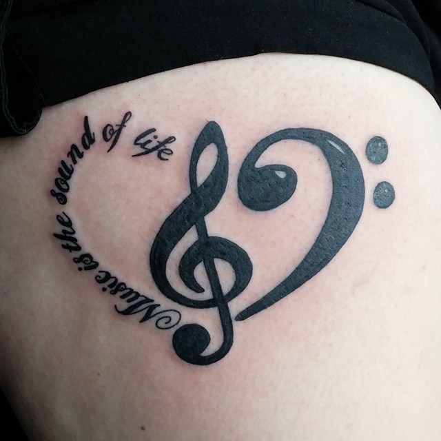 Beautiful Music Heart Tattoo Design