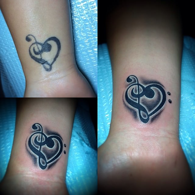Dark Black Music Heart Tattoo
