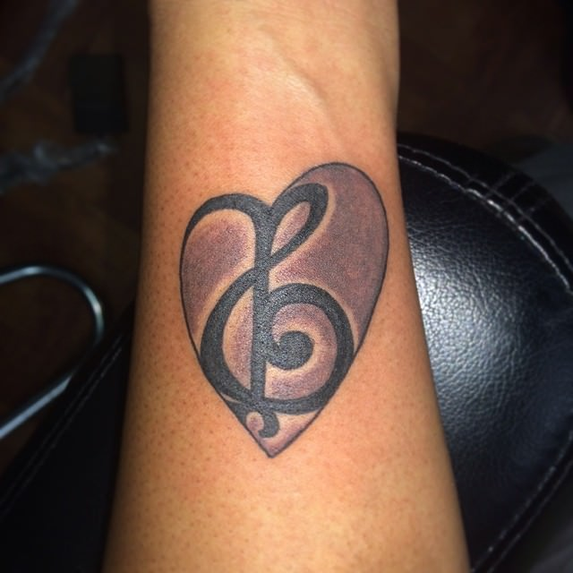 Unique Music Heart Tattoo
