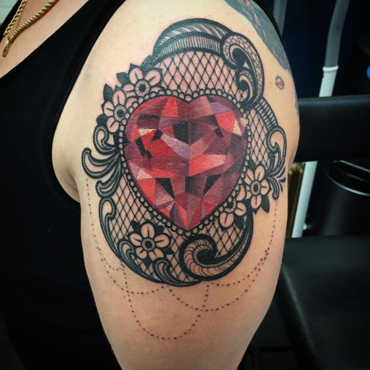 Ruby Heart Lace Tattoo Design