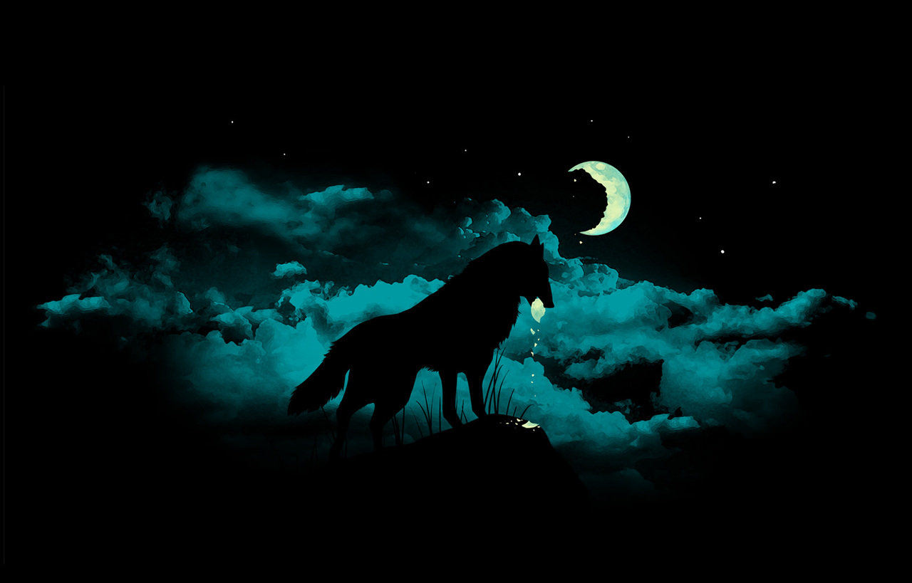 Wolf in Moon Background