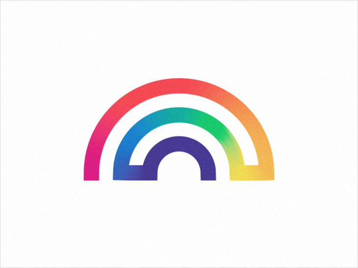 single line rainbow logo