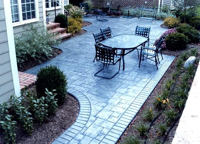 stamped concrete slate amcon backyard design