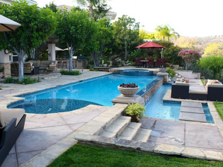 Backyard Patio and Pool With Textured Concrete Deck