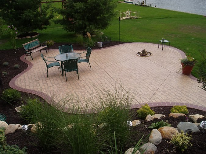 brick free form concreations backyard design