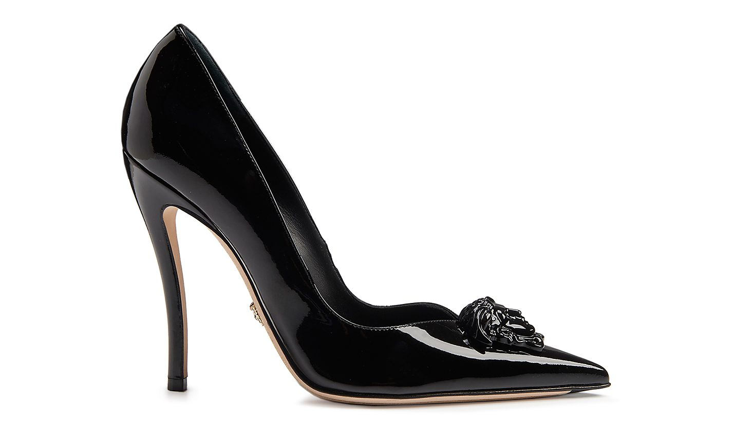 black patent leather pumps