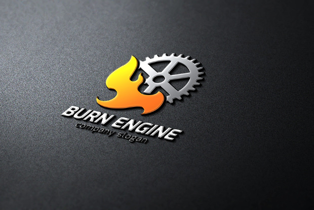 Engine Gear Burning Logo