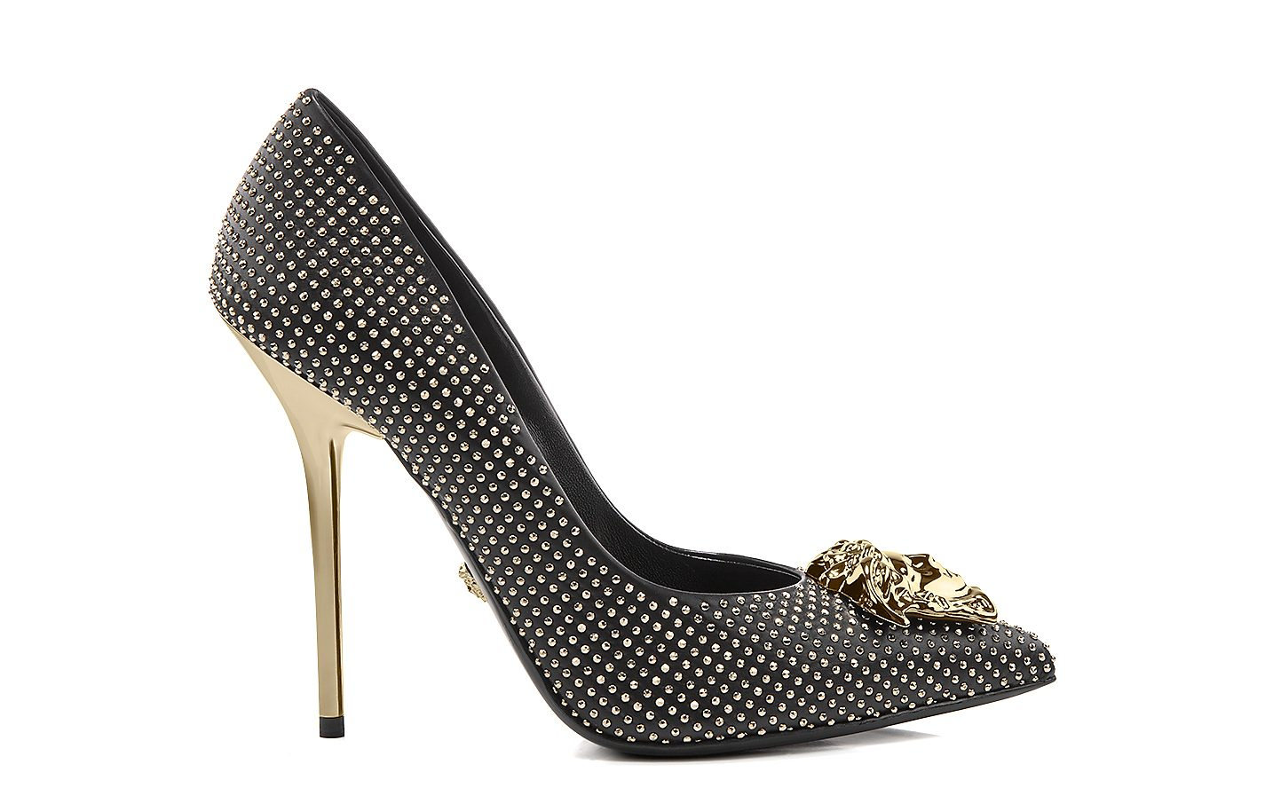 studded palazzo leather heel