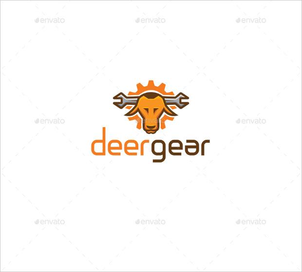 automotive deer and gear logo
