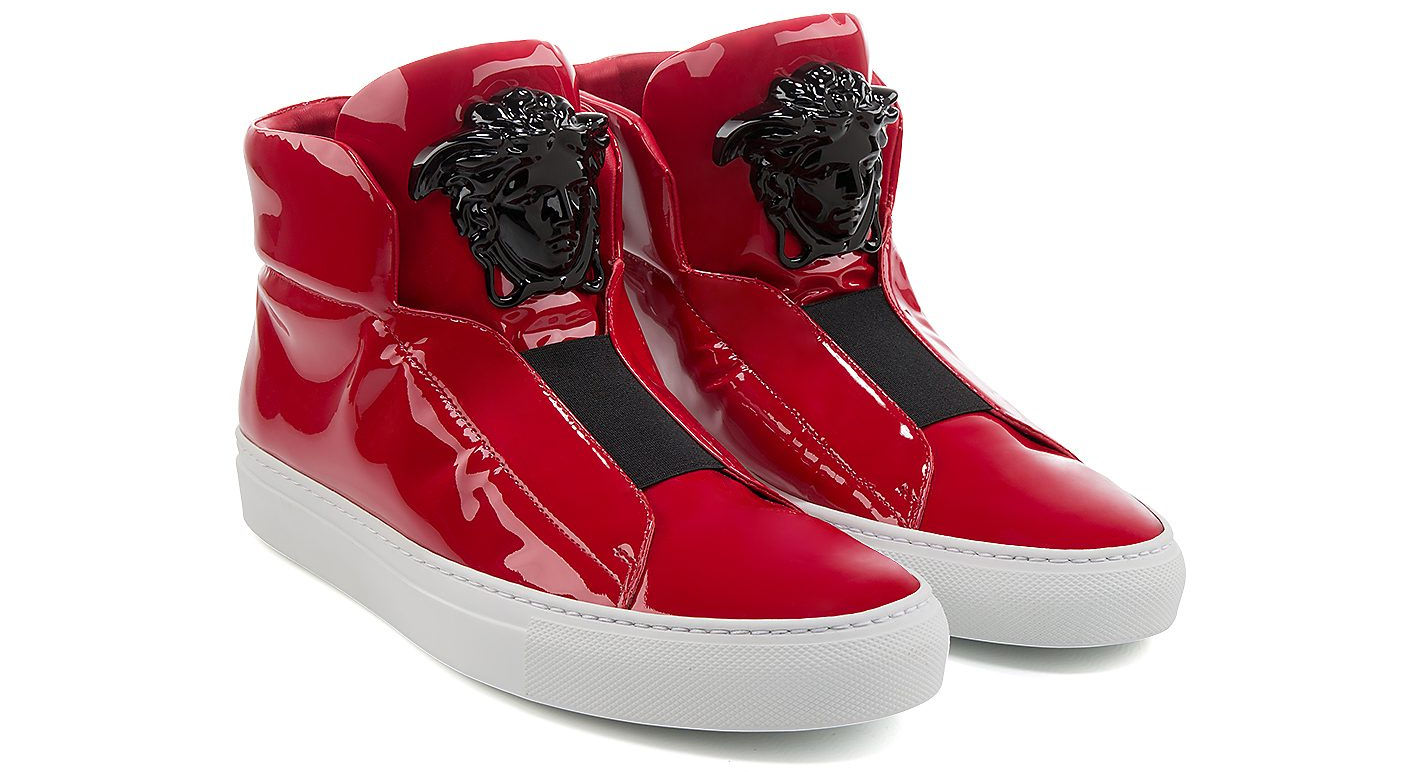 palazzo patent leather high top