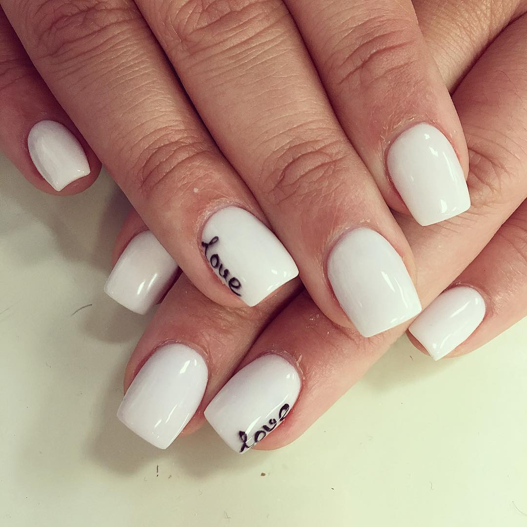 White Nail Design for Short Nails - 23+ Simple Short Nail Art Designs, Ideas Design Trends - Premium
