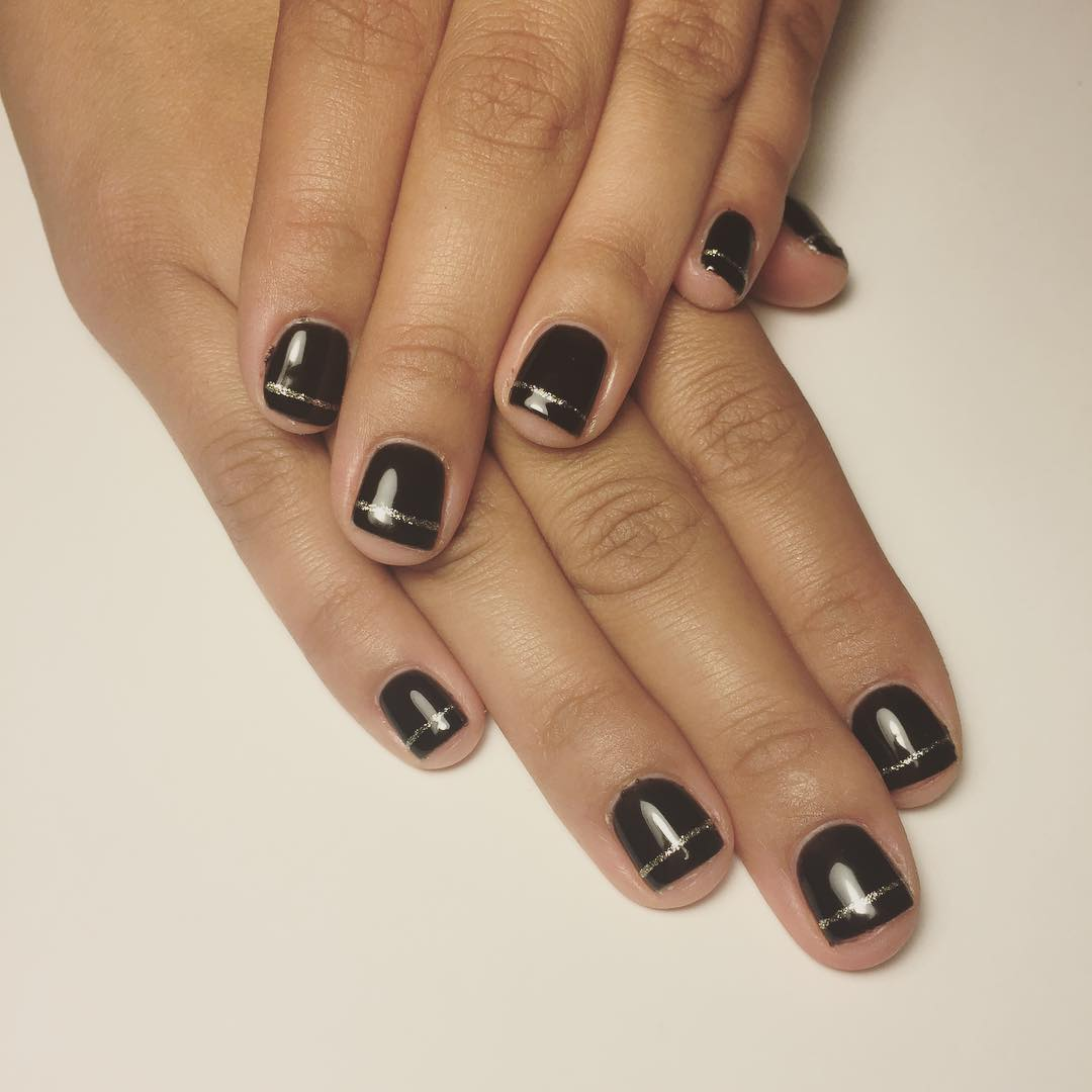 Black & Gold Line Nail Design