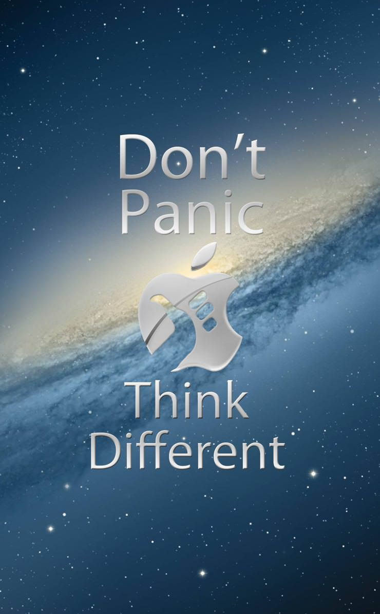 dont panic think different appla logo