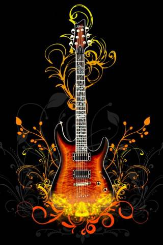 guitar with fire