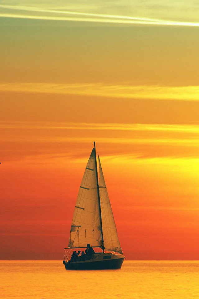 splendid ocean sea sailing sunset landscape