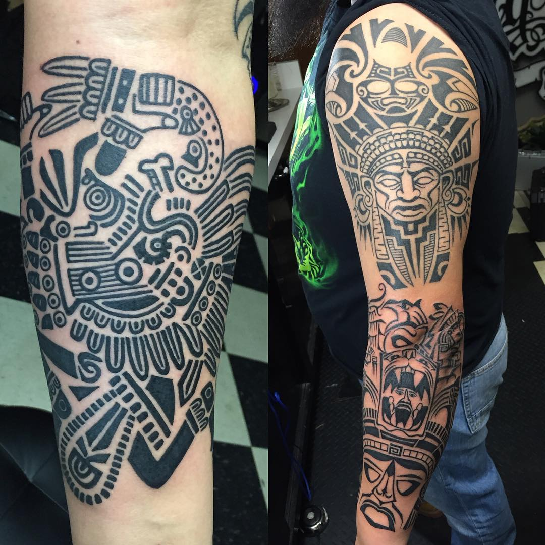 Aztec Tribal Culture Tattoo