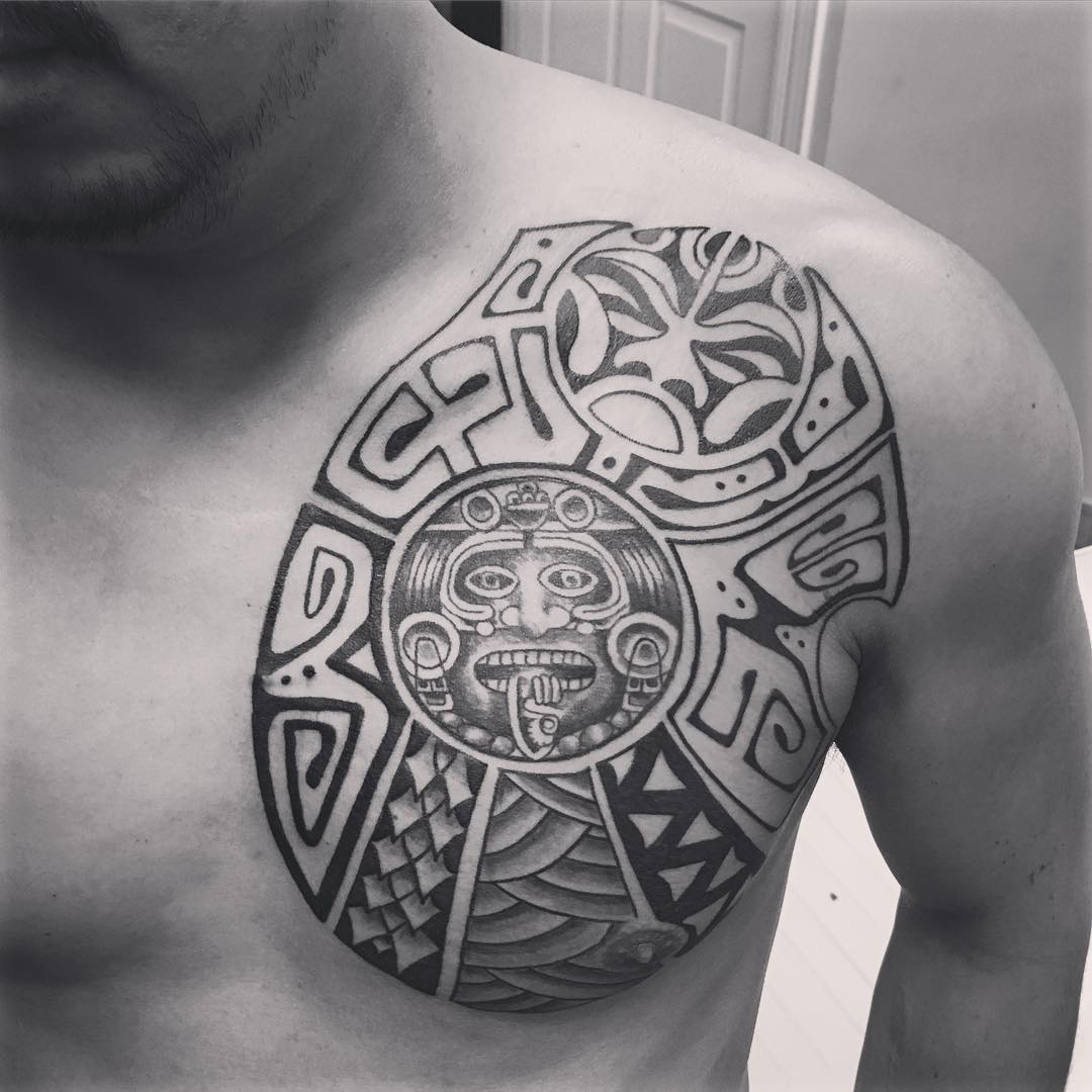Tribal Aztec Chest Tattoo