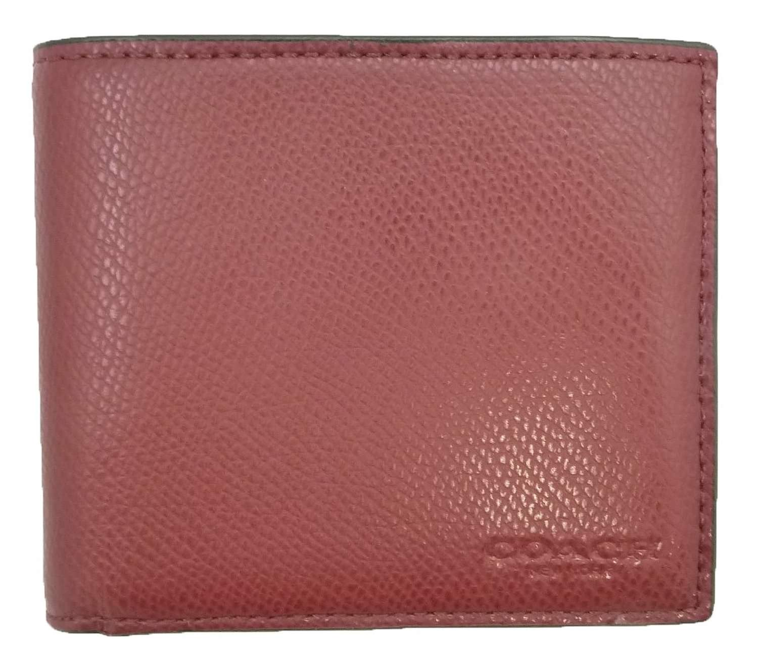 coach leather men wallet balck cherry
