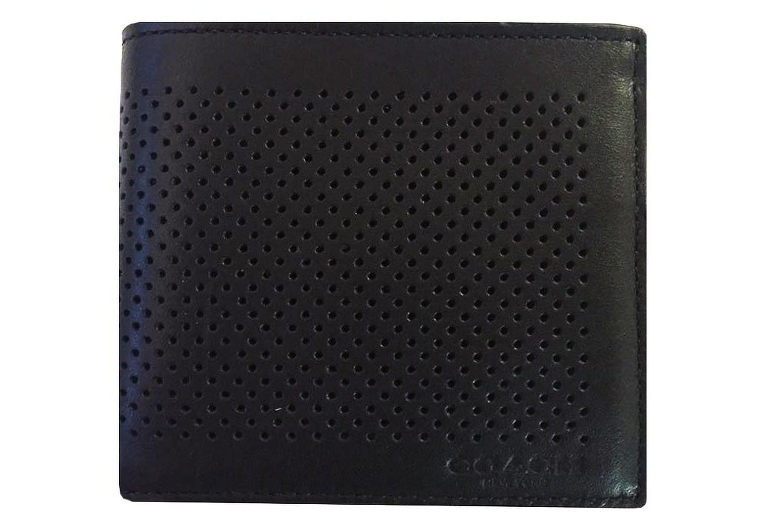 Men's Perforated Leather Billfold Wallet Black