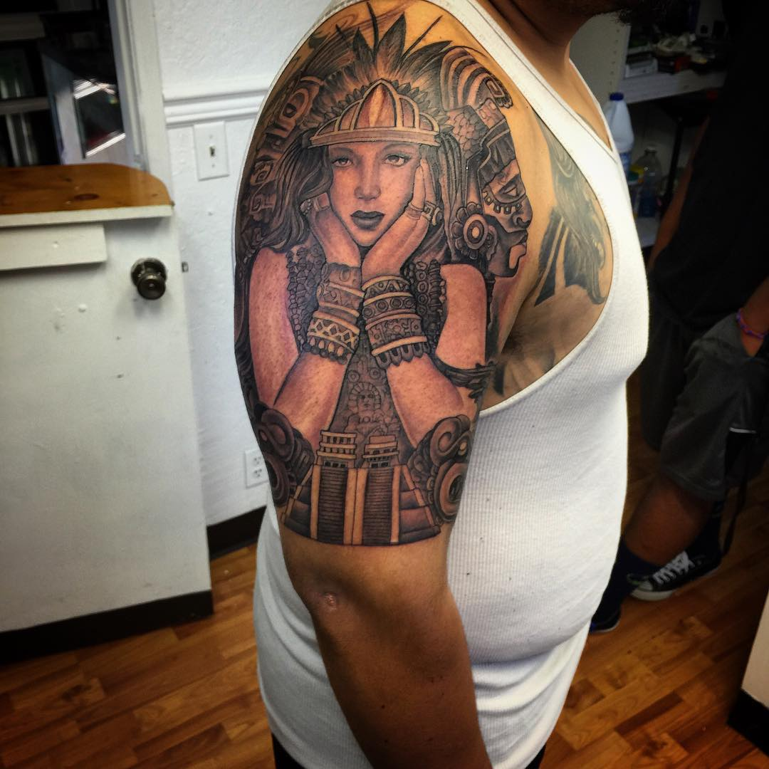 Aztec Tribal Girl Tattoo