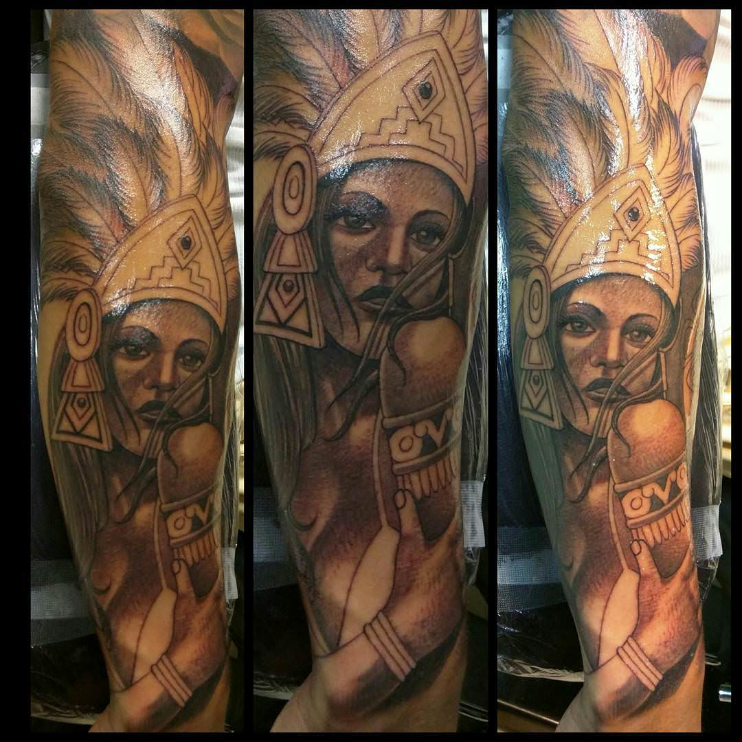 Full Sleeve Aztec Princess Tattoo