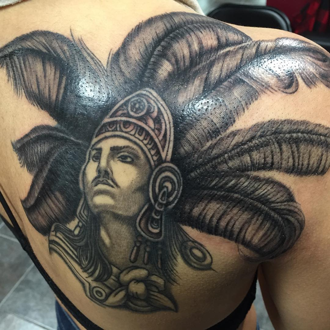 Elegant Tattoo of Aztec Warrior