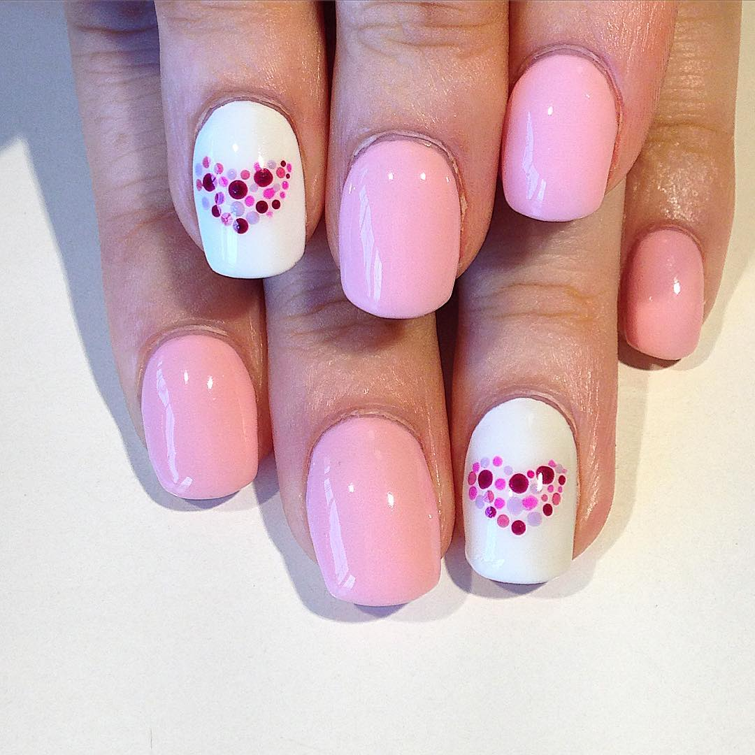 Beautiful White & Pink Nail Design