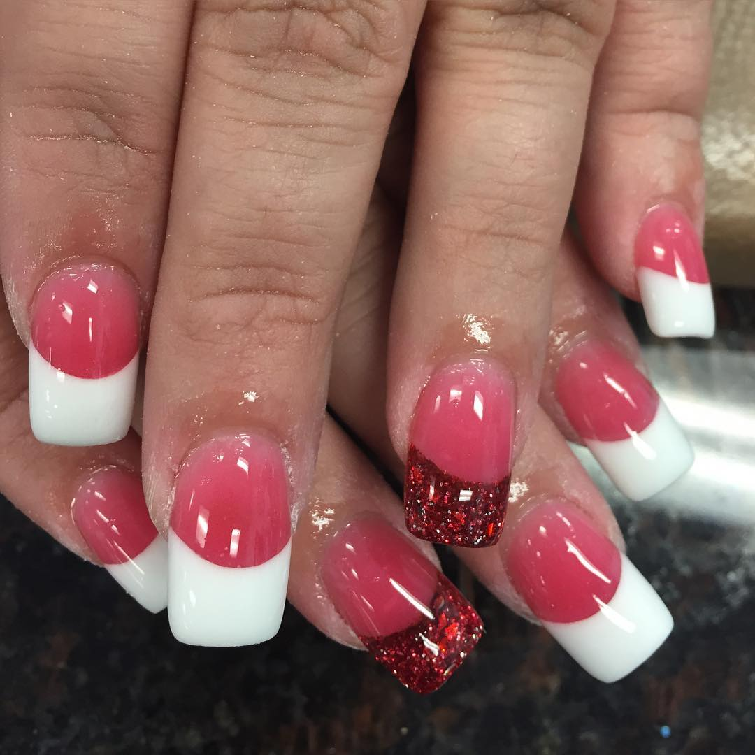 Shining Pink & White Nail Design - 23+ Pink & White Nail Art Designs, Ideas Design Trends - Premium