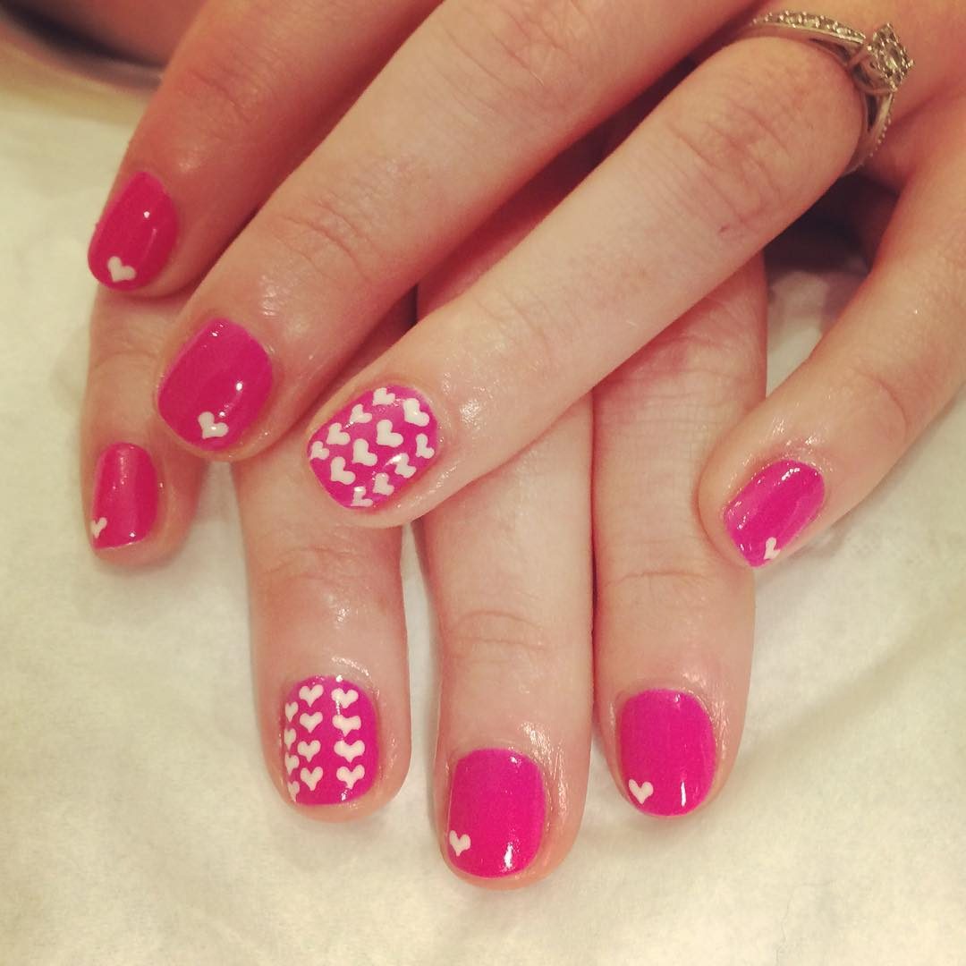 Pink & Love White Nail Designs