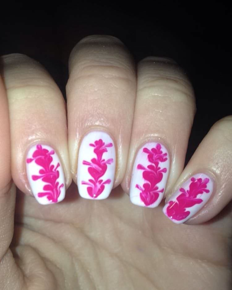 White & Pink Designed Nails