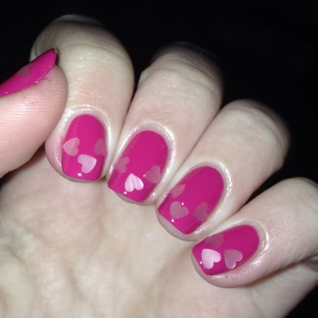 Shining Love Pink & White Nail Design