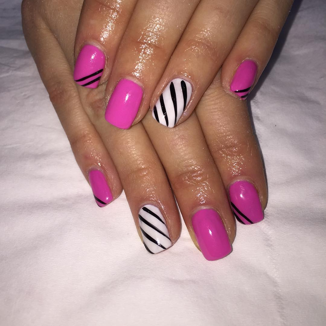 Colorful Pink & White Nail Design