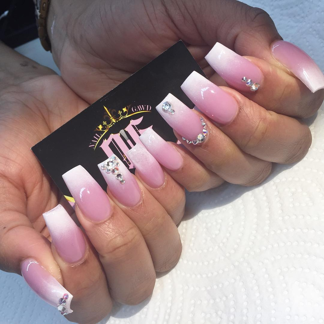 23 pink white nail art designs ideas design trends premium pink white nail design for long nails prinsesfo Choice Image