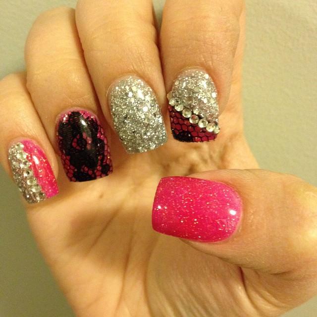 glitter pink white nail design