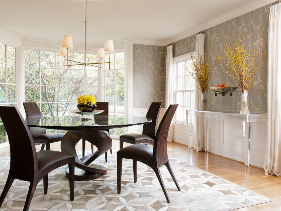 Gray Contemporary Dining Room