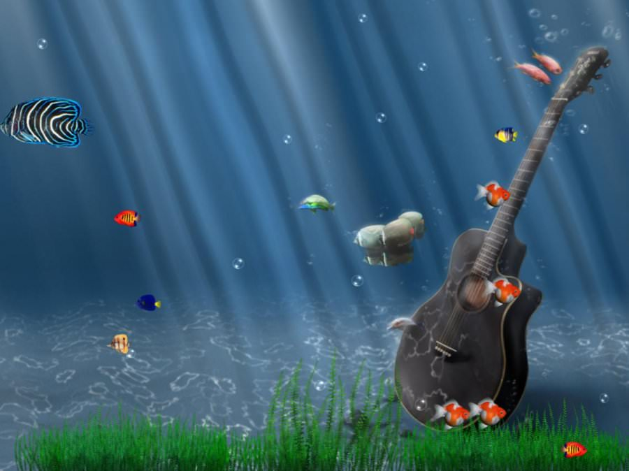 Guitar in Aquarium Background