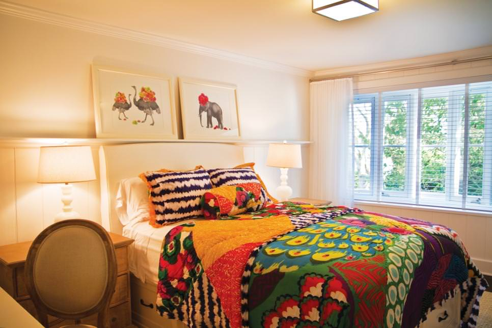 Multicolored Farm House bed Room
