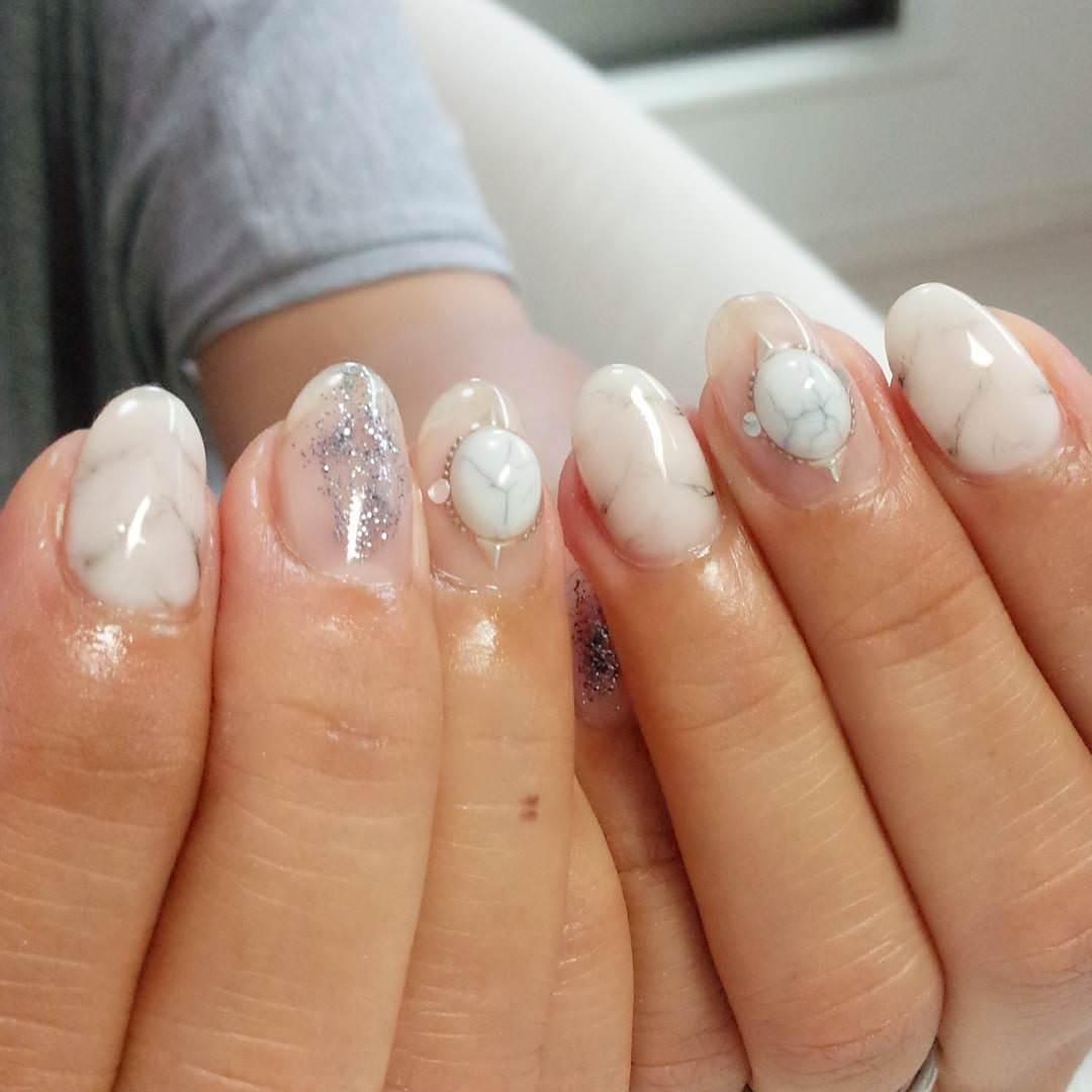 White Turquoise Nail Art