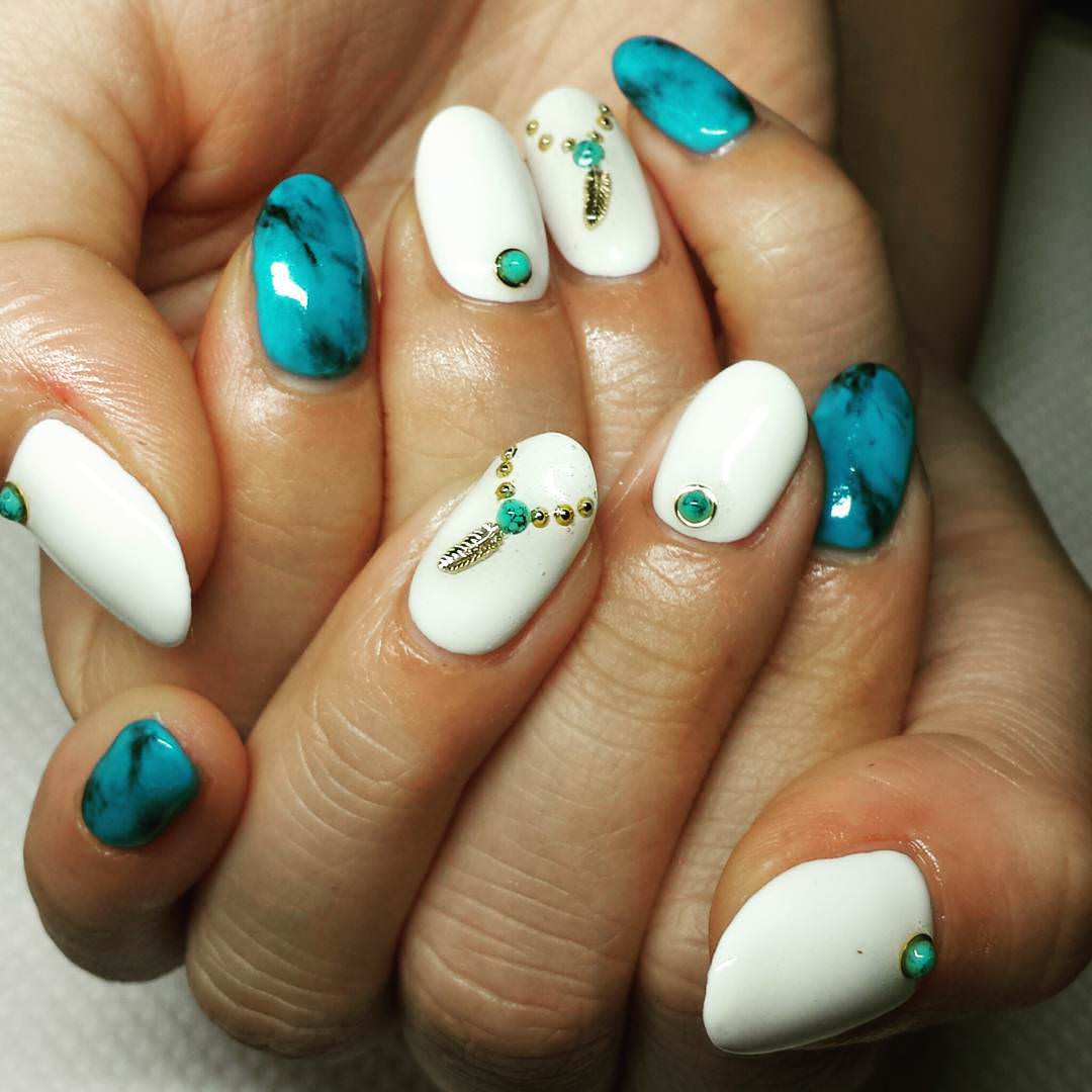 20+ Turquoise Nail Art Designs, Ideas