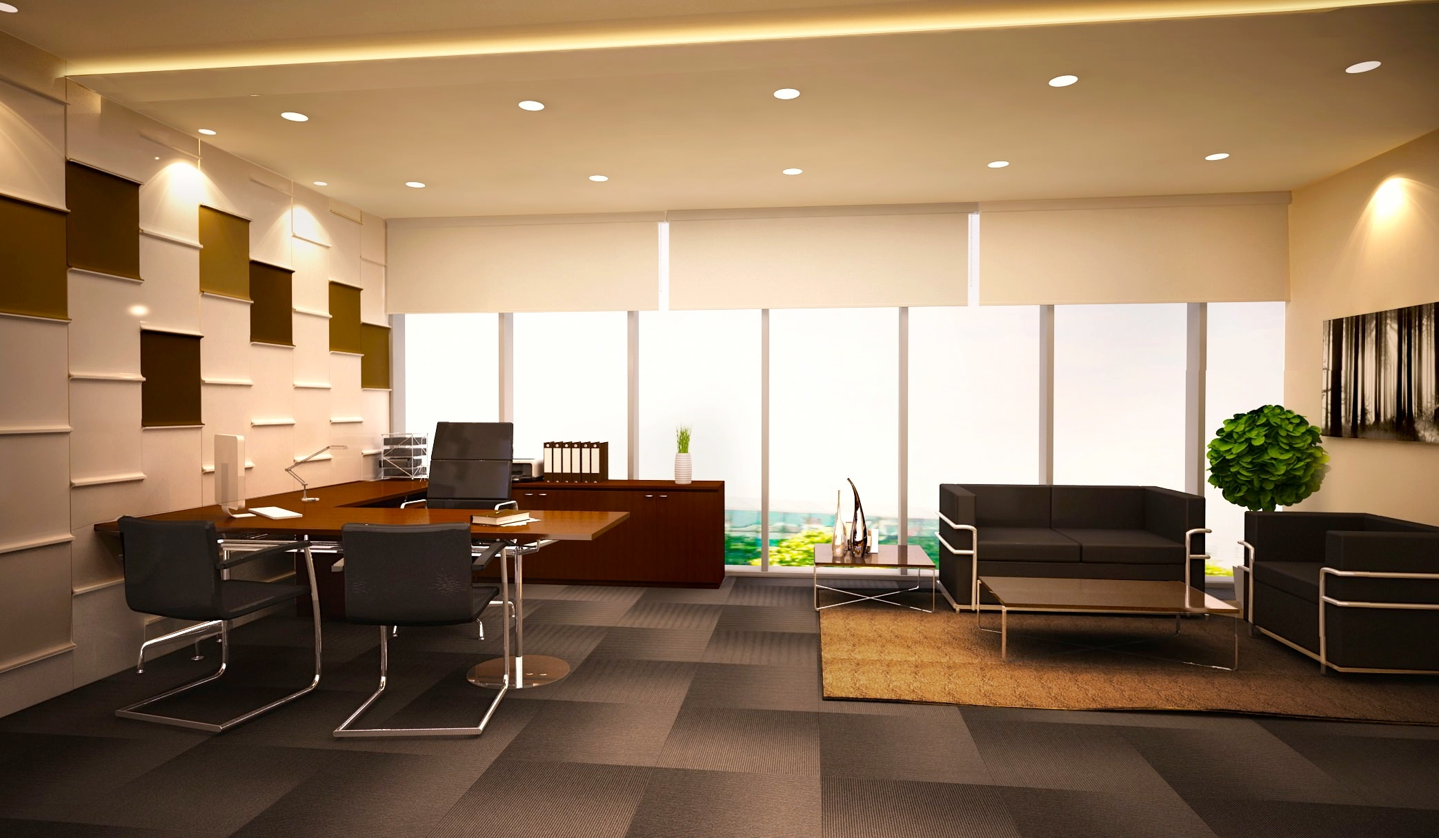 19 minimalist office designs decorating ideas design for Interior design of office space