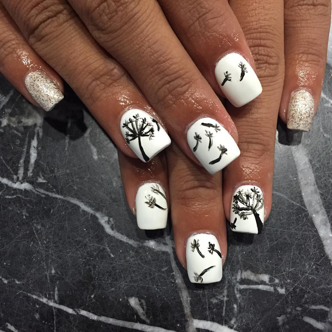 Black & White Fall Nail Design