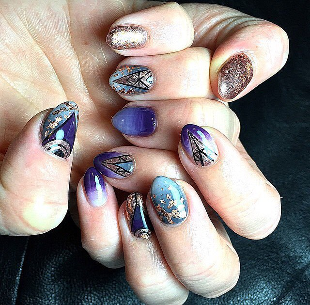 Beutiful Blue Fall Nail Design