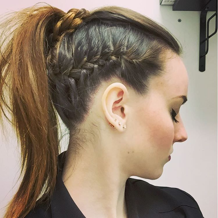 Ponital With Side Braid Hairstyle